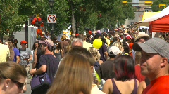 People, crowds, lots of people at street festival Stock Footage