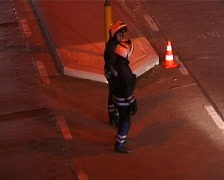 Rescue workers in action at night Stock Footage