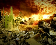 City devastation Stock Footage