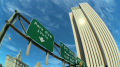 Freeway Sign,USA w/Fish-eye Stock Footage