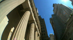 Wall Street USA w/Fish-eye Stock Footage