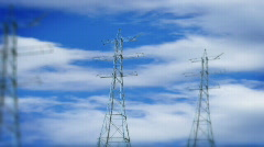 Electricity pillar with blue sky Stock Footage