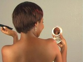 Beautiful Woman Fixes Hair with Compact Mirror Stock Footage