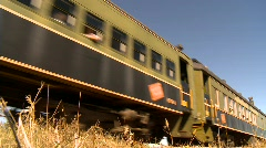 Railroad, steam train passenger cars low angle Stock Footage