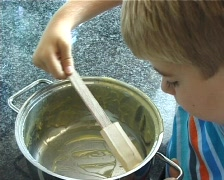 Licking the pot Stock Footage