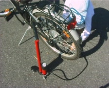 Inflating a bycicle tyre Stock Footage