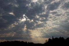 Sunrise with hard cloudscape - stock footage