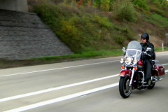 Motorcycle Rider on highway Stock Footage
