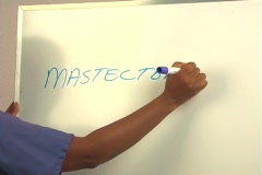 "Beautiful Nurse Writes ""Mastectomy"" on a White Board (close-up) Stock Footage"