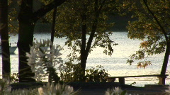 Flower Boat & River. - stock footage