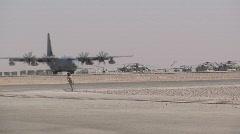 C-130 Airplane Landing m Stock Footage