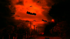Flying Bats in Halloween Sky Stock Footage