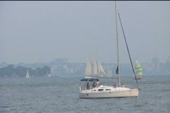 Hazy Sailboats Stock Footage