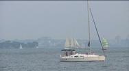 Hazy Sailboats Stock Footage