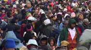 Obama Inauguration Crowd Zoom Back Stock Footage