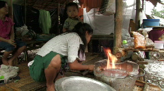 Karen Refugees: Girl starts fire for cooking Stock Footage