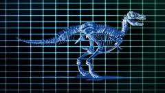 Dino T-Rex walking EKG background,loop Stock Footage