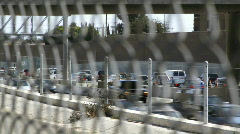 LA Highway Traffic Fenced Stock Footage