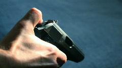 Decocking Pistol Stock Footage