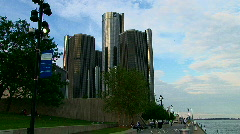 Detroit's Renaissance Center & River Walk Stock Footage