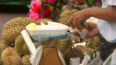 Durian Fruit Vendor Stock Footage