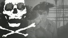 pirate flag 1 BW Black white - stock footage