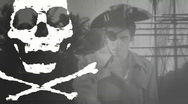 Stock Video Footage of pirate flag 1 BW Black white