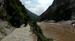 Riksha in Tiger Leaping Gorge, China Stock Footage