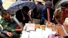 Chinese males smoking Stock Footage