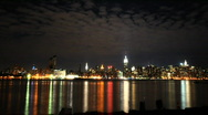 NYC skyline wide angle Stock Footage