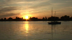 Sunset Boat Timelapse HD Stock Footage