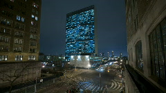 UN Building in NYC time lapse - stock footage