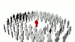White icon people and a red one in the center. p Stock Footage