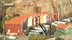 Boat huts Smogen, Sweden Stock Footage