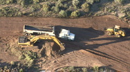 Stock Video Footage of Dump Truck & Excavator View From Above