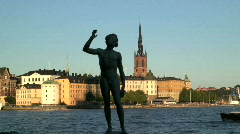 Stock Video Footage of Song Statue Stockholm Sweden