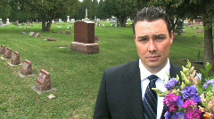 Man at Cemetery - stock footage