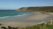 Stock Video Footage of Gwynver Beach in Cornwall UK.