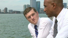 Waterfront conversation (2 of 2) - stock footage