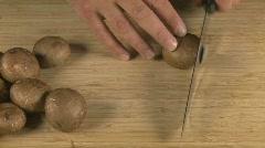 Crimini Mushroom slice 1 Stock Footage