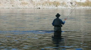 Fly fisherman Yellowstone River P HD 2673 Stock Footage