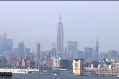 Empire State Building Boats Pass Stock Footage