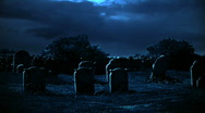 Stock Video Footage of Blue Hunted Cemetery
