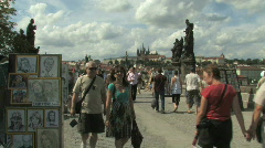 Charles Bridge in Prague, Capital of Czech Republic in Eastern Europe - stock footage