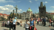 Stock Video Footage of Charles Bridge in Prague, Capital of Czech Republic in Eastern Europe