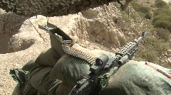 Machine Gun position at guard post Stock Footage