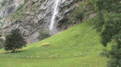 Waterfall in the Swiss Countryside - Switzerland, Europe Stock Footage