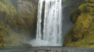 Stock Video Footage of Skogafoss waterfall Iceland