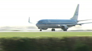 HD1080i Passenger jumbo airplane jetliner KLM Airlines. Take off. Stock Footage