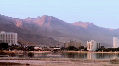 Dead sea hotel's - landscape Stock Footage